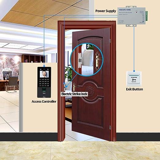 NN99 sistema de control de acceso para puertas Teclado biométrico facial con cerradura eléctrica Strike 2.8inch TCP/IP/USB Máquina de asistencia de huellas dactilares con software: Amazon.es: Industria, empresas y ciencia