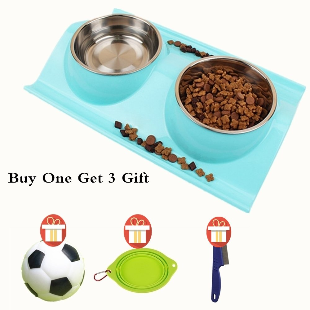 Stainless Steel Pet Bowls Set of 2 Non Slip Pet Feeding Bowls For Dog And Cat Buy 1 Get 1 Pet Travel Bowls As Gift