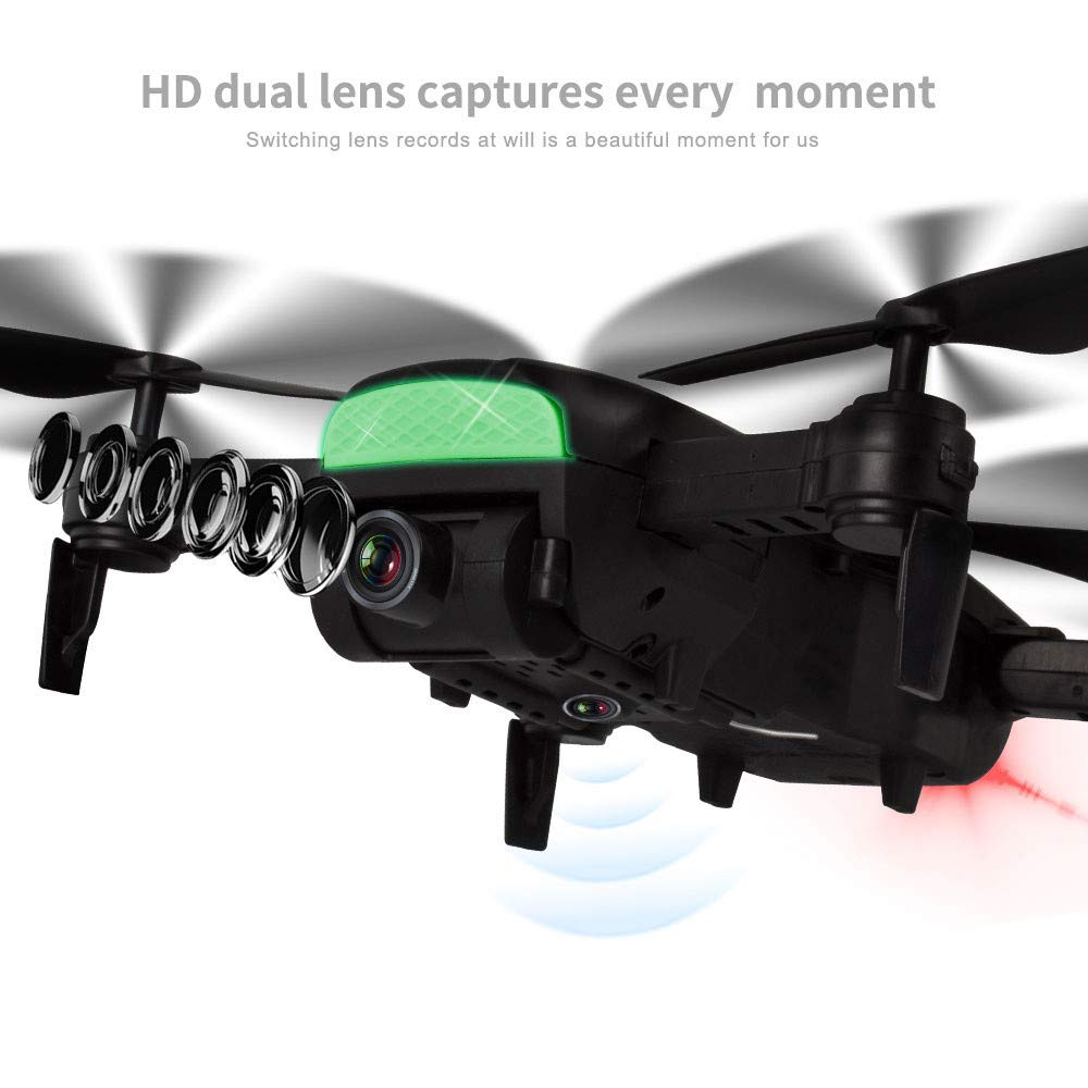 MOZATE LH-X41F 2.4Ghz 4CH Attitude Hold WiFi 720P Optical Flow Dual Camera RC Quadcopter Drone (Black) by MOZATE (Image #3)