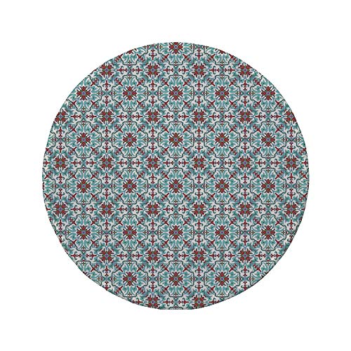 Non-Slip Rubber Round Mouse Pad,Vintage,Ethnic Antique Floral Pattern Italian Majolica Style Ornate Illustration,Light Blue Red Green,11.8