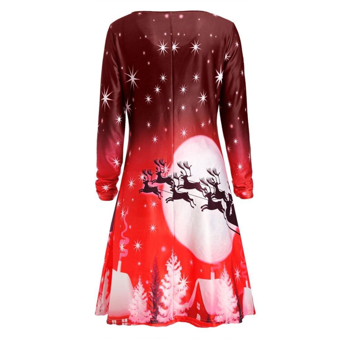 910a3c12efca Amazon.com  Longay Women s Plus Size Christmas Print Long Sleeve Shirt  Dress Tunic Blouse Tops Mini Club Shirt Dress (Green
