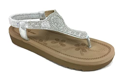 efe0088eace2 Forever Fashion IRENA Womens Crystal Sandal Comfort Platform Slip On Flip  Flip