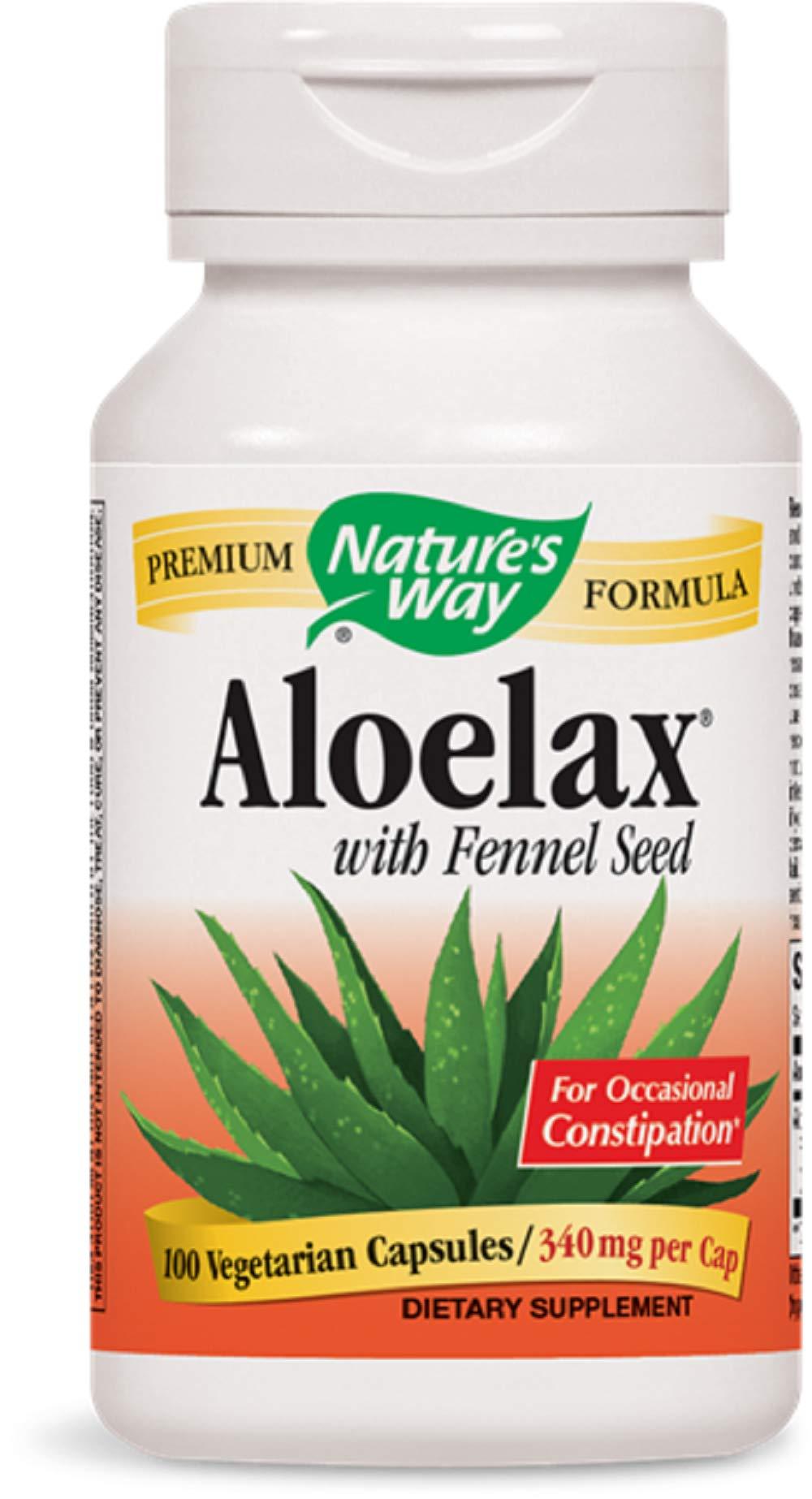 Natures Way AloeLax, 340 milligrams, 100 Vegatarian Capsules. Pack of 9 Bottles Pack 9