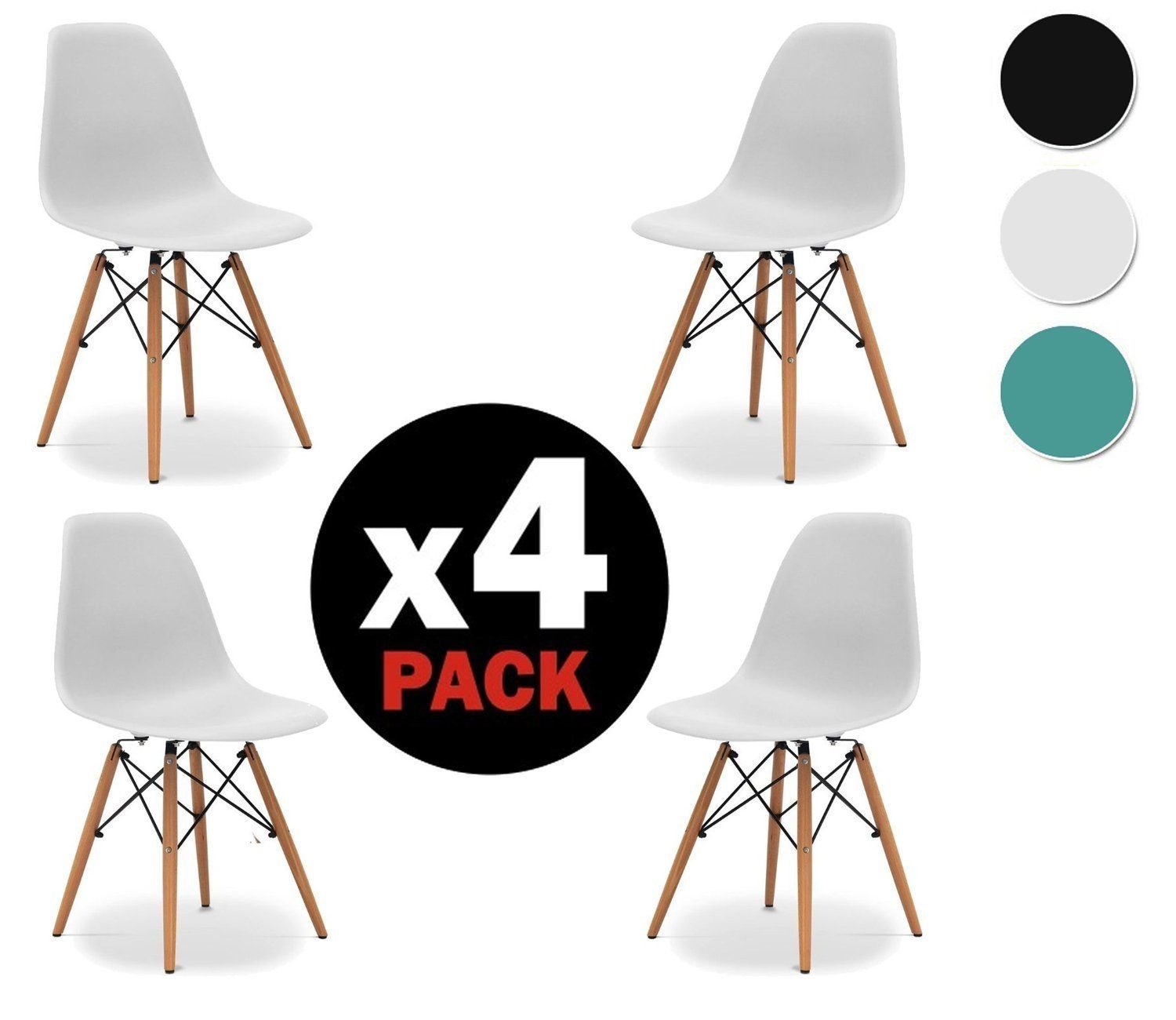 due home Nordik Pack 4 Chairs White Tower Chair Replica Eames White and Beech Measures 47 cm Width x 56 cm Depth x 81 cm Height Amazon