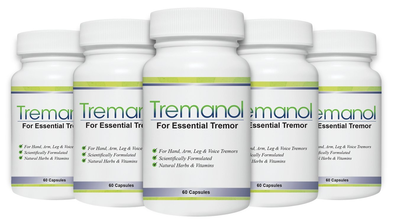 Tremanol – Pack of 5 - Natural Aid for Essential Tremor - Provides Relief for Shaky Hands, Arm, Leg, & Voice Tremors