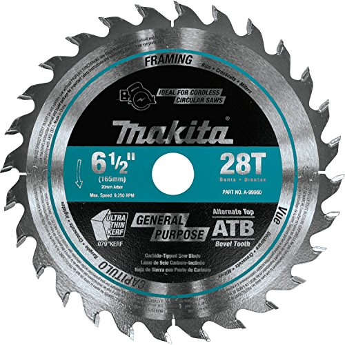 Makita A-99960 6-1/2 inch 28T Carbide-Tipped Cordless Plunge Saw Blade
