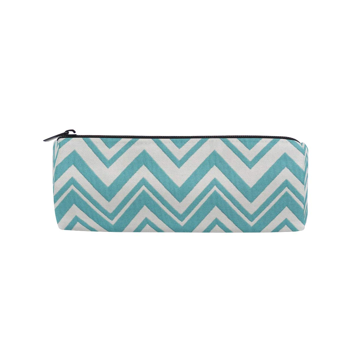 Pencil Case Teal and White Zig Zag School Pen Pouch Office Zippered Pencil Cases Holder Women Makeup Bag