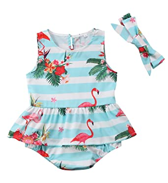 cb352ab1be24 Urkutoba Infant Girls Summer Cartoon Flamingos Sleeveless Ruffle Romper  Jumpsuit Sunsuit Dresses+Headband (Blue
