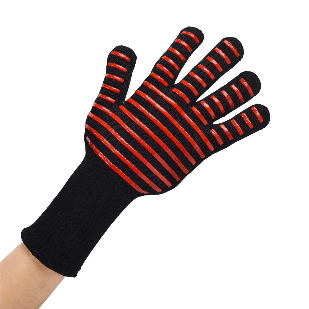ProtectionShTa 1/2Pcs 300-500 Centigrade Extreme Heat Resistant BBQ Gloves Lining Cotton 1pc Red Stripes