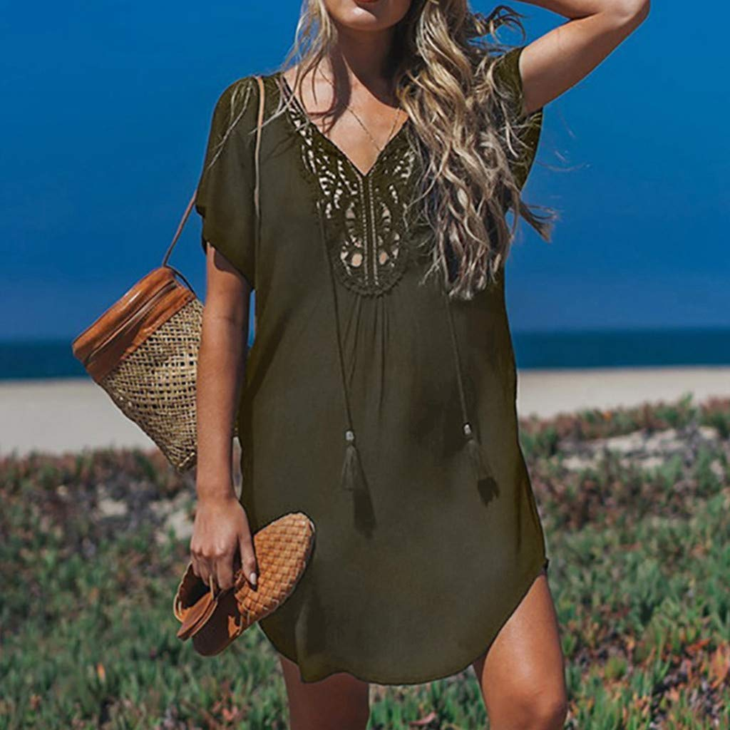 Womens Lace Sewn Bohemian Dress Deep V-Neck Summer Fashion Casual Loose Beach Dress