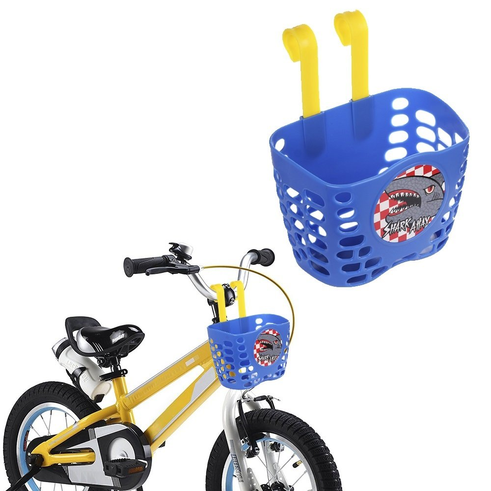 Kid's Bike Basket, Mini-Factory Cute Cartoon Shark Attax Pattern Bicycle Handlebar Basket for Boy  (Blue)