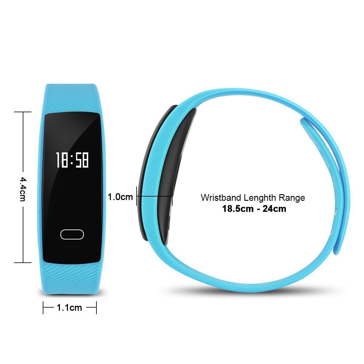 TKSTAR Fitness Tracker Pulsómetro, Smart Watch brazalete deportivo OLED pantalla táctil Smart Reloj de pulsera con Tensiómetro Dormir Monitor calorías ...