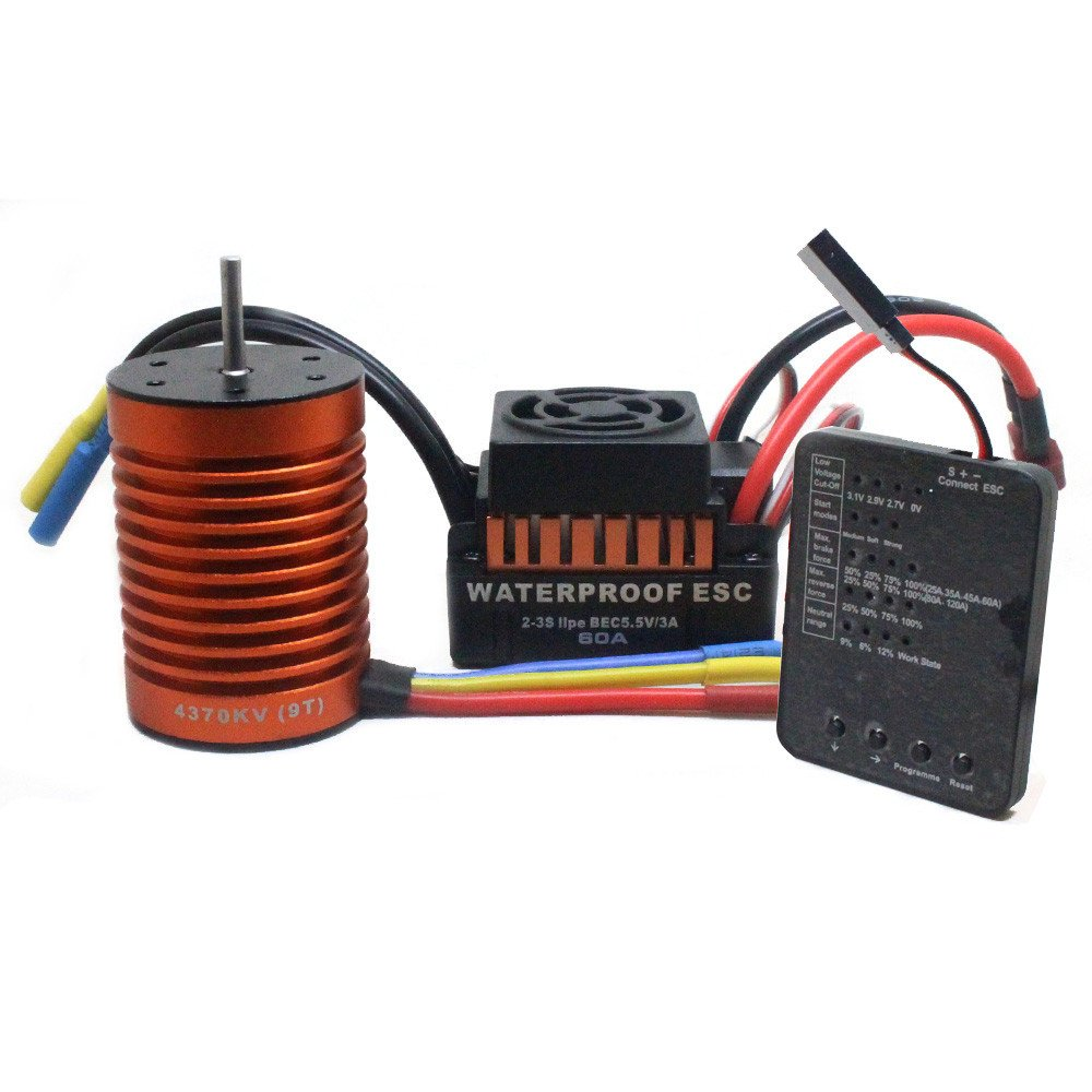 Really Go-us Direct 9t 4370kv Brushless Motor+60a Esc +Program Card Combo for 1/10 Rc Car Truck Dimension: 2.0 x1.4X 1.3 Inch (Without Cables)