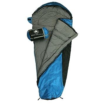 10T Outdoor Equipment Schlafsack Yukon Kid 175s - Saco de dormir momia para acampada, color azul, talla 175 x 80 cm: Amazon.es: Deportes y aire libre