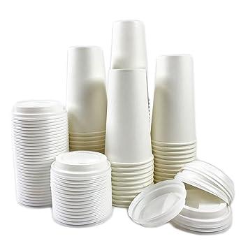 Gato negro Avenue desechables café caliente vasos de papel con tapas, 50 juegos: Amazon.es: Hogar