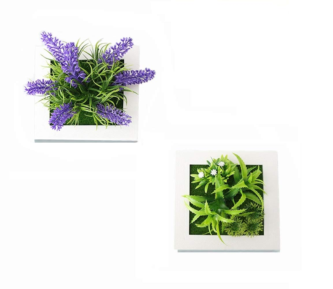 """NEILDEN Artificial Plants Potted Lavender Succulent Plants 3D Creative Plants Wall Hanging for Home Wall Decor 5.9""""x 5.9"""" (Set of 2)"""