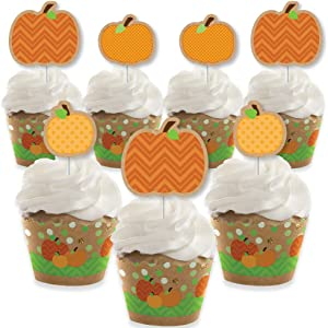 Big Dot of Happiness Pumpkin Patch - Cupcake Decoration - Fall, Halloween or Thanksgiving Party Cupcake Wrappers and Treat Picks Kit - Set of 24