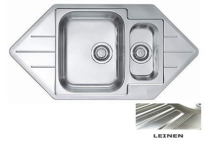Lavelli Angolari Per Cucina.Vbchome Lavello Da Incasso Ad Angolo 985 X 500 Mm 1 5
