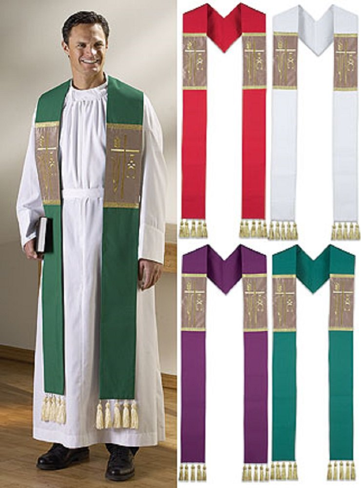 CLERGY ATTIRE, Set of 4 Color Alpha Omega Stoles with Tassels by AT001