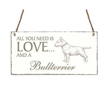 Placa decorativa, « All You Need is Love And A Bull Terrier ...