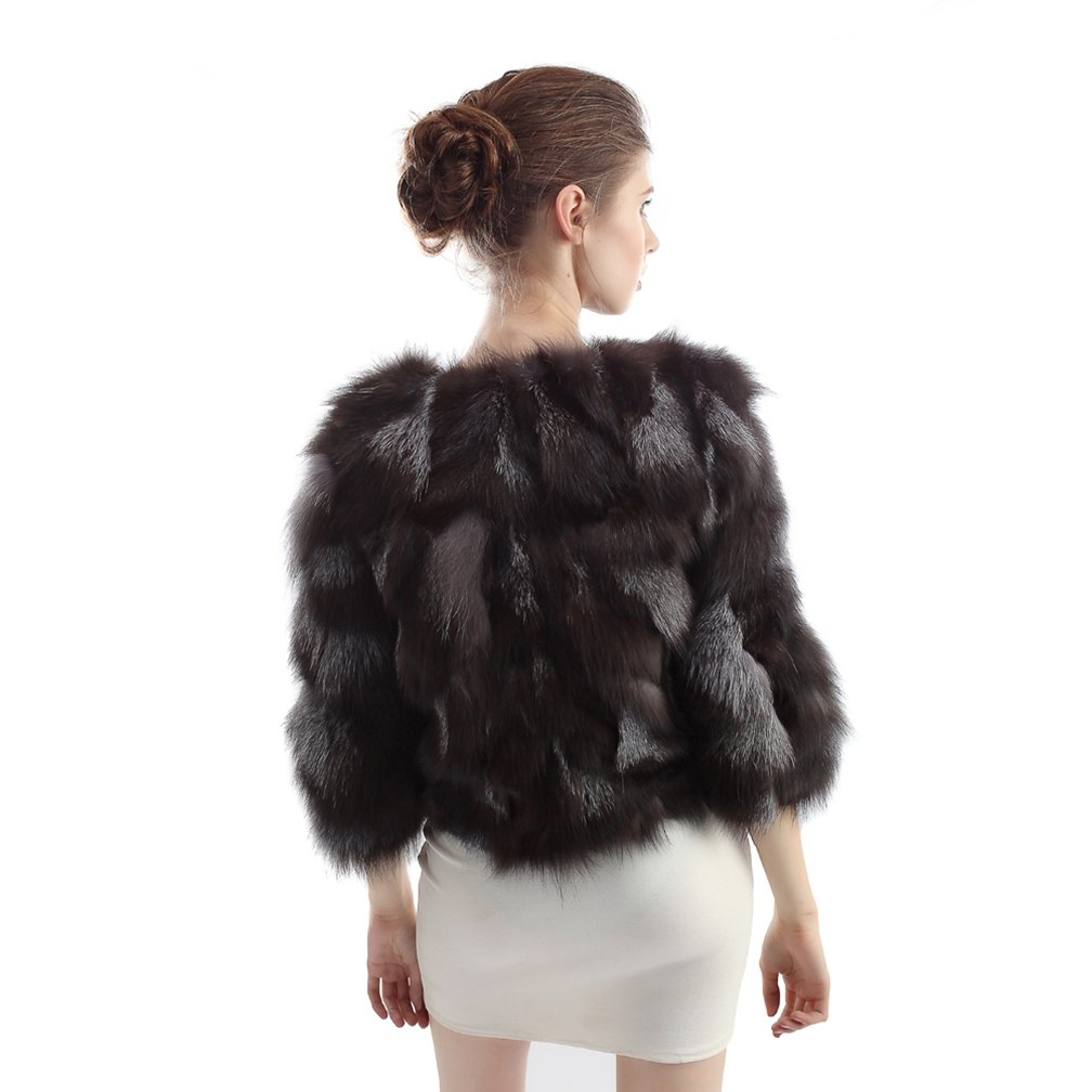 OLLEBOBO Women's Coat For Winter Genuine Fox Fur Knitted Coat without Belt Size 2XL Black by OLLEBOBO (Image #8)