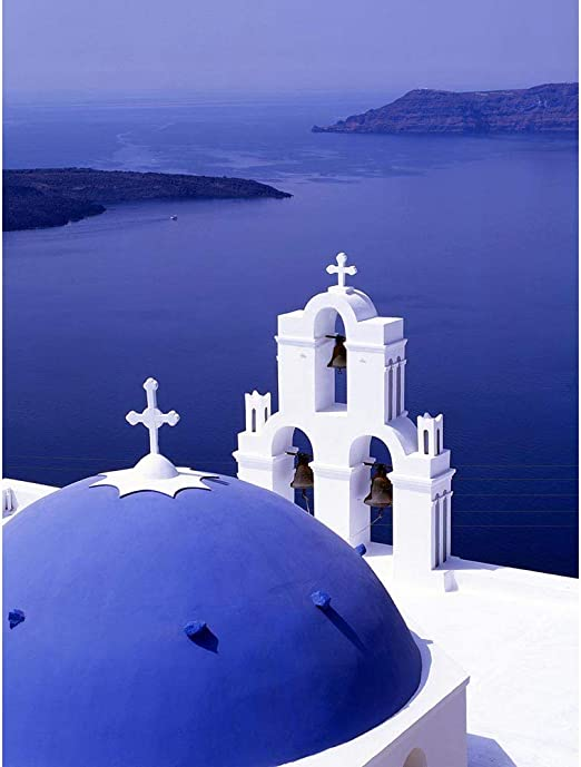 Amazon Com Santorini Church Blue Domed Roof Greece Unframed Wall Art Print Poster Home Decor Premium Posters Prints