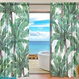 SEULIFE Window Sheer Curtain, Hawaiian Tropical Palm Tree Leaves Voile Curtain Drapes for Door Kitchen Living Room Bedroom 55x84 inches 2 Panels