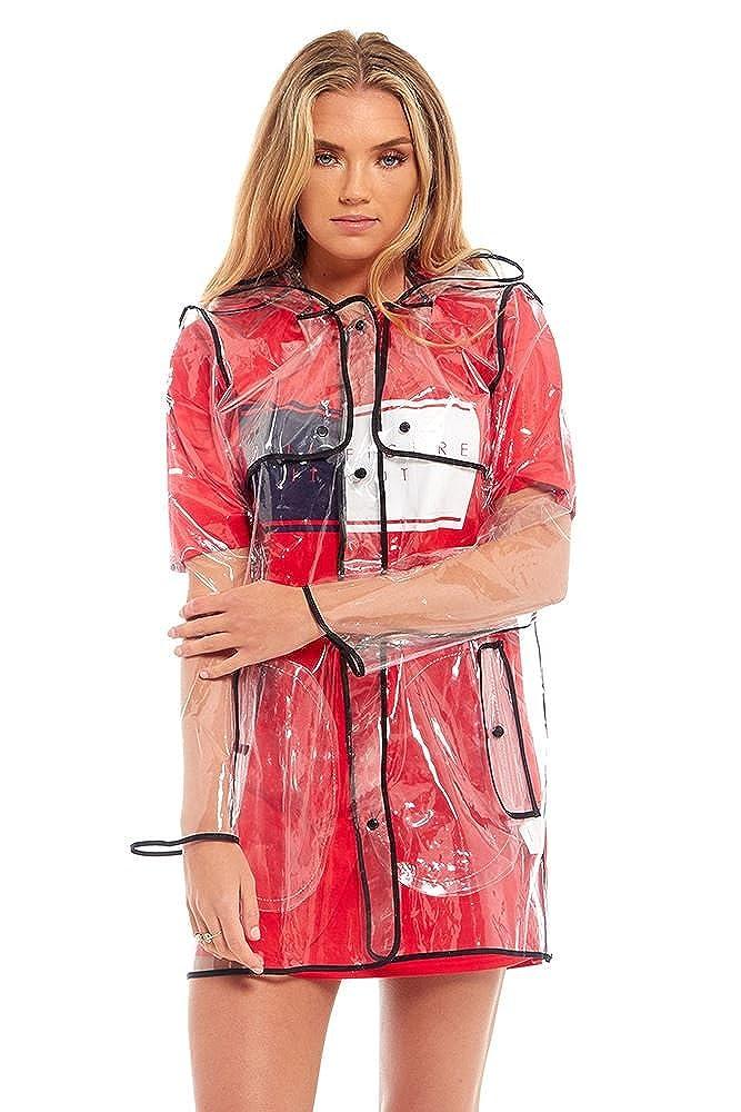shelikes Womens Ladies Girls Transparent Clear Black Waterproof Reusable Showerproof Hooded Outerwear Travel Rainwear Portable Packaway Raincoat Rain Mac UK Size 8 10 12 14 OOG