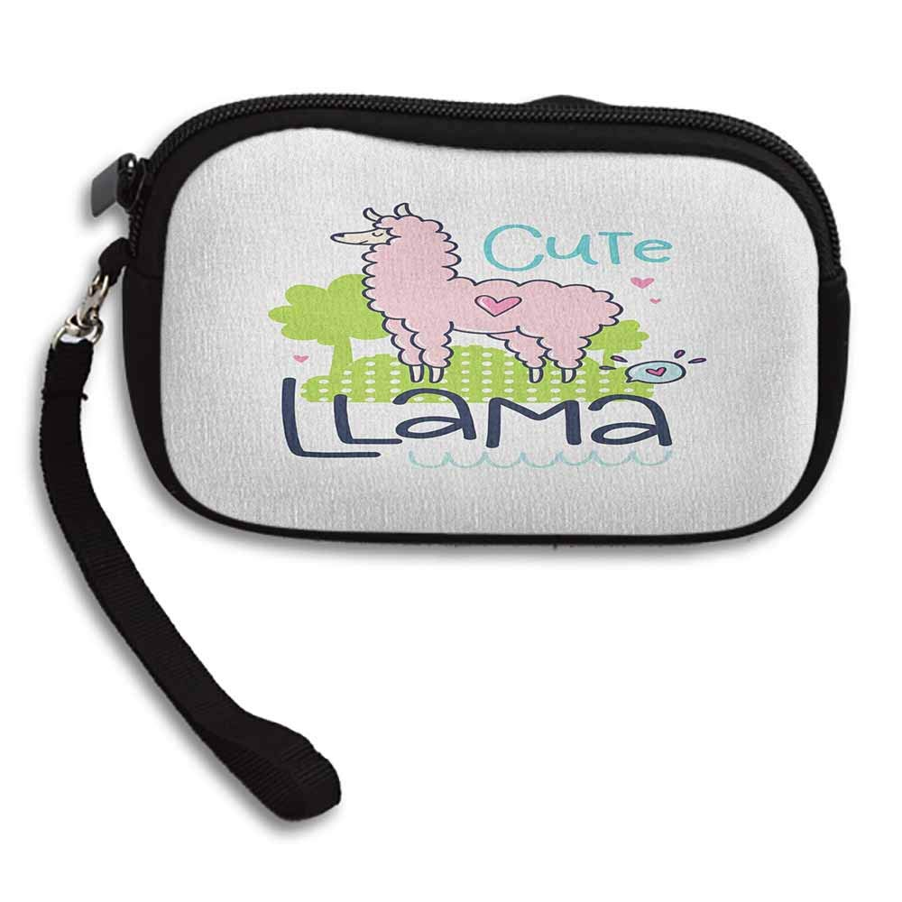 Llama Cute Coin Purse Cute Llama Pattern with Abstract Color Palette Cartoon Character Design Pink Animal W 5.9x L 3.7 Girls Fashion Wallets
