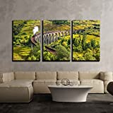 wall26 - 3 Piece Canvas Wall Art - Glenfinnan Railway Viaduct in Scotland with the Jacobite Steam Train Passing over - Modern Home Decor Stretched and Framed Ready to Hang - 24''x36''x3 Panels