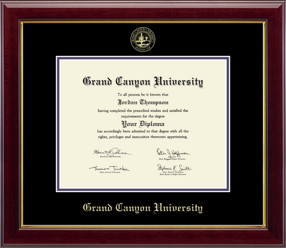 """Grand Canyon University Gold Embossed Diploma Frame – Solid Hardwood """"Gallery"""" Moulding, Officially Licensed – By Church Hill Classics (Diploma Size 8.5''h x 11''w)"""