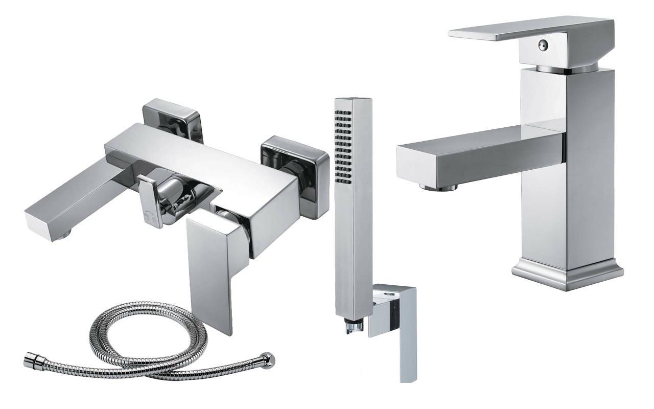Eckig Design Bad Zimmer Dusche Waschtisch Wanne Duschkopf Schlauch ... | {Badarmaturen eckig 27}