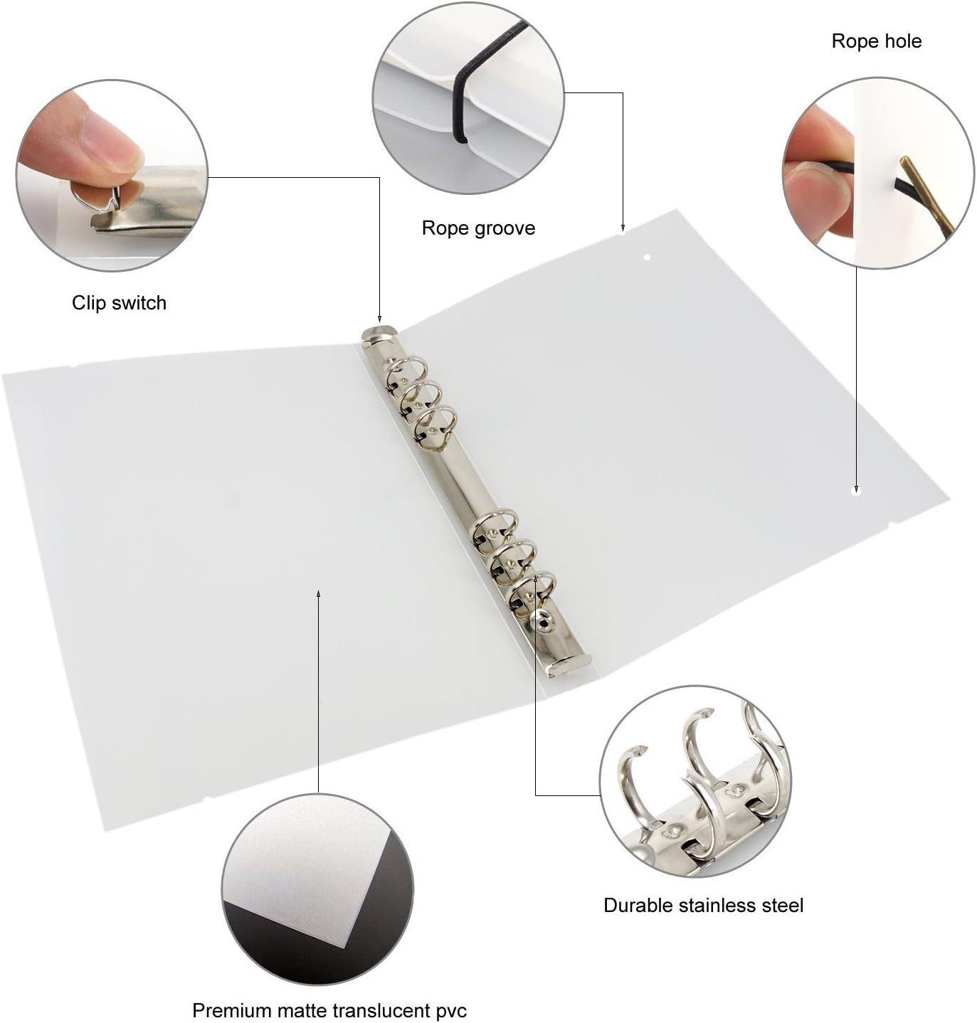 Zhi Jin Classeur transparent /à anneaux standard avec cordes /élastiques 6 Holes A5