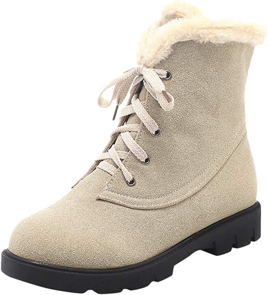 Womens Casual Warm Cotton Shoes Booties Round Flat Cross Lace-Up Snow Boots New