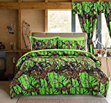 Regal Comfort The Woods Bio Hazard Green Camouflage Queen 4 Piece Premium Luxury Comforter, Bed Skirt, and 2 Pillow Shams Set - Camo Bedding Set For Hunters Cabin or Rustic Lodge Teens Boys and Girls
