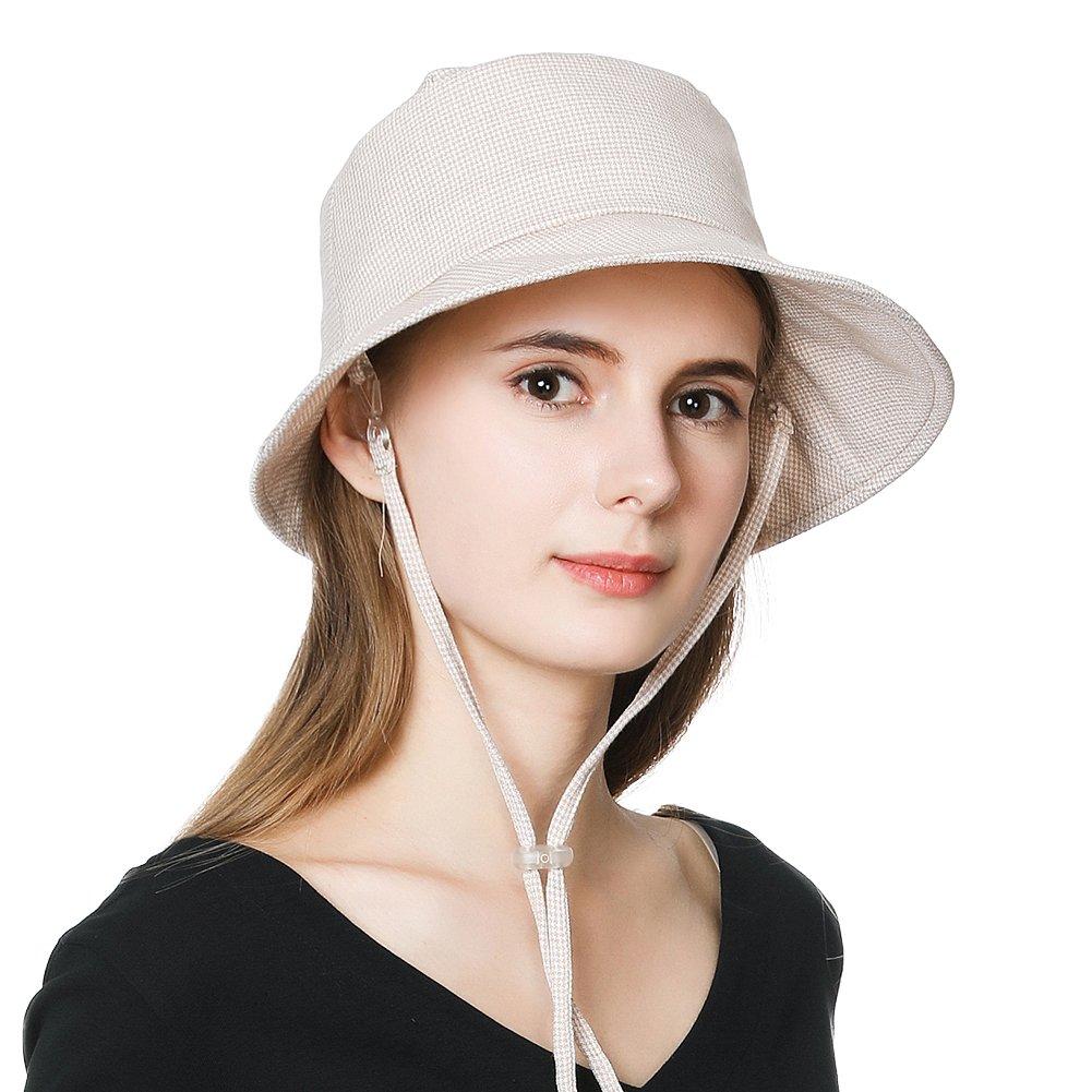 Fancet Packable Sun Bucket Hat for Women Beach Accessories Safari Hiking Protection Travel Bonnie Spf Short Brim Beige Houndstooth