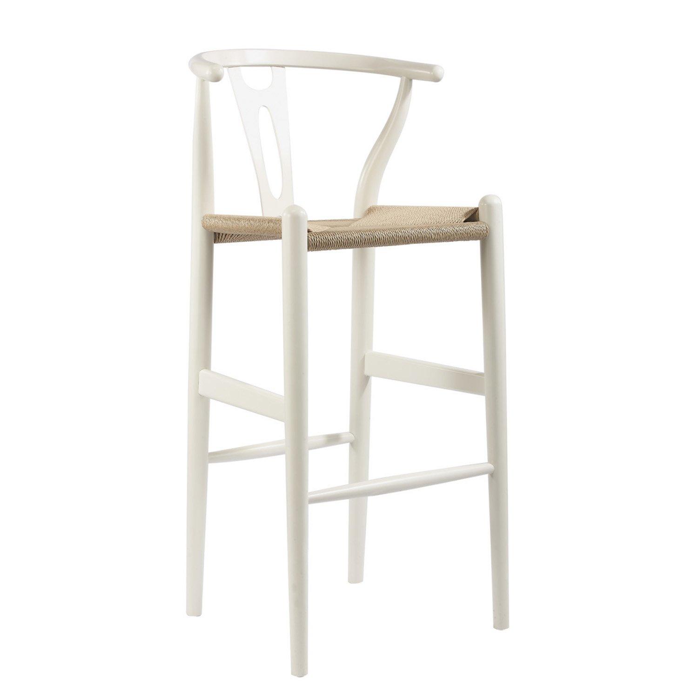 amazoncom baxton studio midcentury modern wishbone woody stool white kitchen u0026 dining