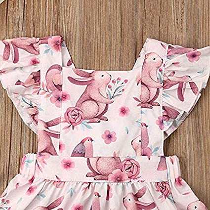 Toddler Baby Girl Easter Clothes Floral Ruffle Fly Sleeve Bunny Print Princess Dress Girls Summer Outfit