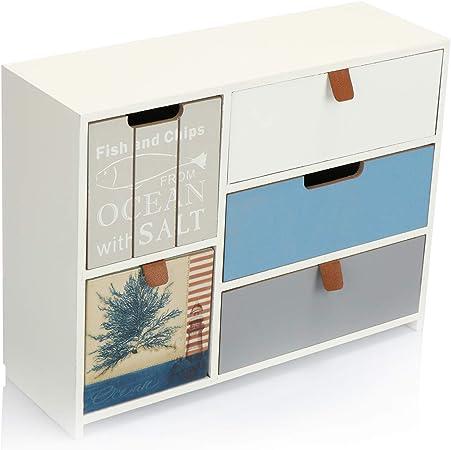 com-four® Mini cajonera con 5 cajones - gabinetes de Madera con diseño marítimo - Mini gabinete para Guardar Joyas, cosméticos y artículos pequeños (1 Pieza - 30x10x23.5-5 cajones): Amazon.es: Hogar