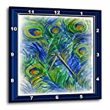 Susan Brown Designs Peacock Feathers in Watercolors Wall Clock, 10 by 10-Inch For Sale