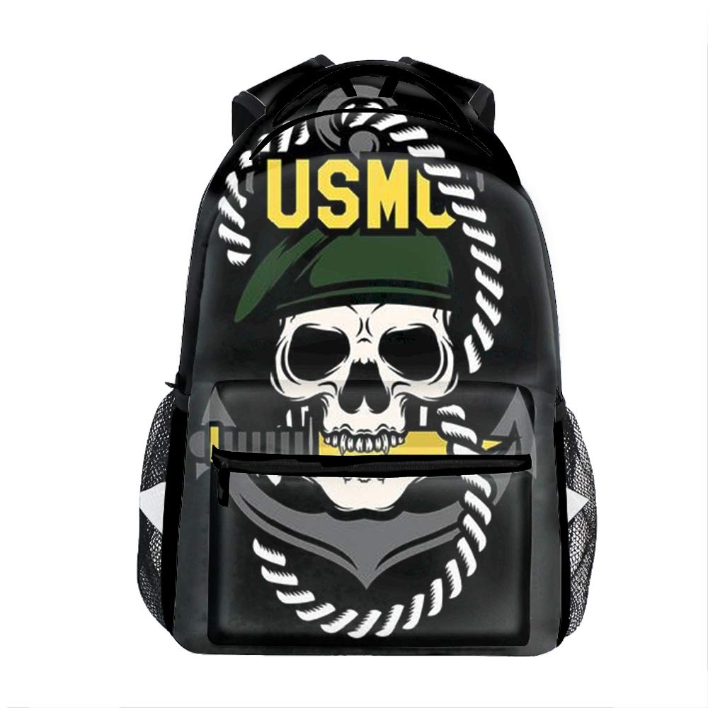 3ad6d3d8b USMC Skull3 Rainbow colord Music Note Casual Backpack Bag, Fashion  Lightweight Backpacks for Teen Young