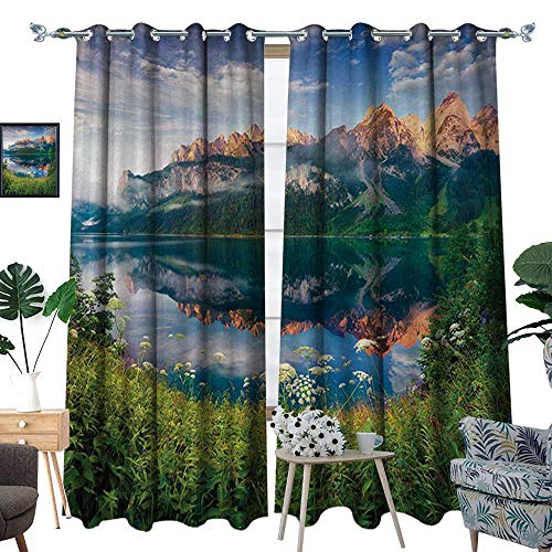 (RenteriaDecor Mountain Waterproof Window Curtain Sunny Summer Morning on Lake Austrian Alps Crystal Mirroring Water Fairy Season Blackout Draperies for Bedroom W96 x L108 Multicolor)