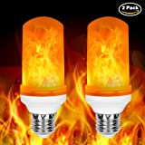 Loveishere LED Flame Effect Fire Light Bulbs- 2 Modes E26 LED Flame Effect Fire Light Bulbs Flickering Fire Atmosphere Decorative Lamps for Hotel/ Bars/ Home Decoration/ Restaurants (2 pack)