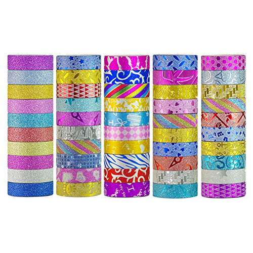 Washi Tape Set 50 Rolls Decorative DIY Tapes for Arts and Crafts Glitter Washi Masking Tape by ZUOQIU