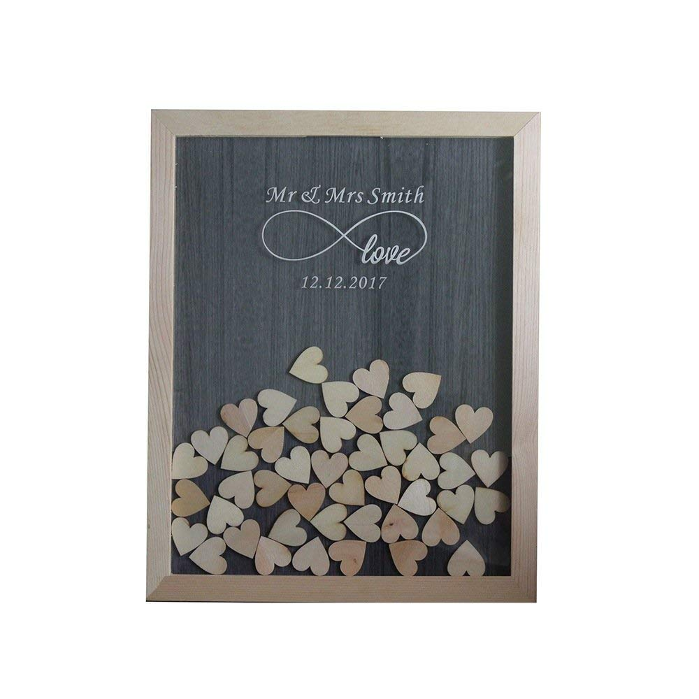 Personalized Wedding Guest Book,Custom Name & Date Infinite Love Guestbook Alternative Wood Drop Box 40x50cm with 150 Pcs Wooden Hearts