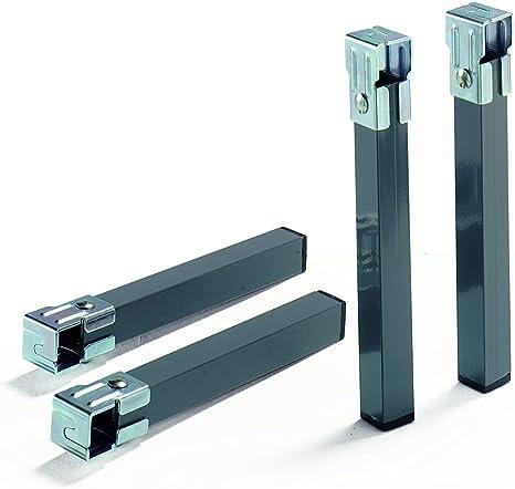 Abitti Pack 6 Patas cuadradas METALICAS con Abrazaderas para Somier de Tubo 30x30mm. 25cm Altura. Tacos PVC Antideslizantes