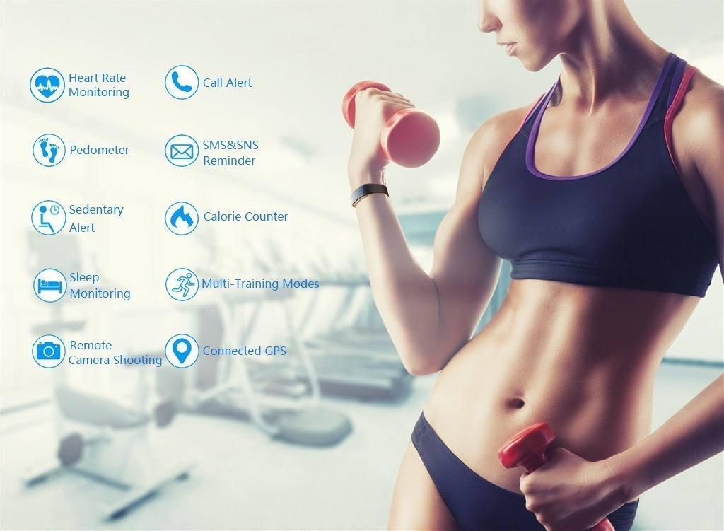 EFOSHM Fitness Tracker Bracelet Connecté Intelligent de sport avec podomètre des Activités Moniteur de Fréquence Cardiaque, Moniteur de Calorie, Montre Intelligent Imperméable Ip67 Bluetooth, Compatible avec iPhone Téléphones Mobiles Androi
