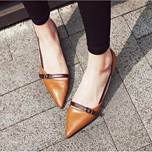 Brown White White Spring Heels ZHZNVX Women's Closed Heel Shoes Toe Comfort Nappa Leather Stiletto w7fAOq6