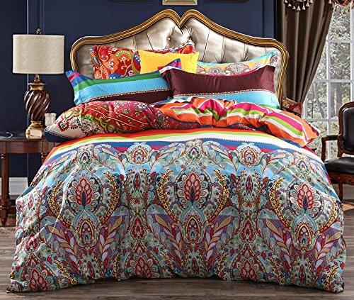 Boho Style Bedding Set Paisley 100% Cotton Bohemian Paisley Duvet Cover 3pcs Queen Pattern2