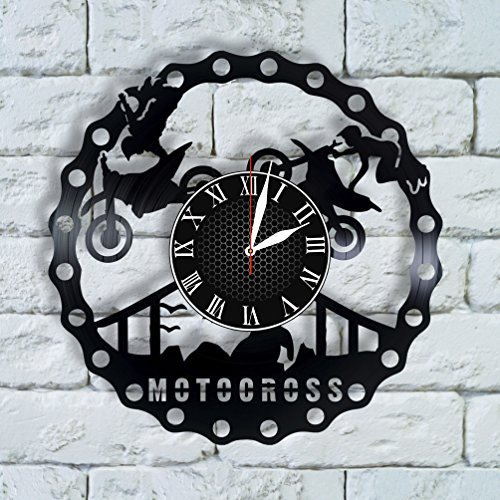 Olha Art Design Motocross Gift for boyfriend, Motorcycle party Clock motocross decor, motocross wall art motocross wall decor, motorcycle vinyl